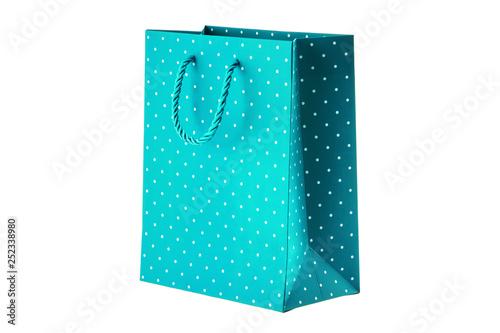 Blue paper bag on white background