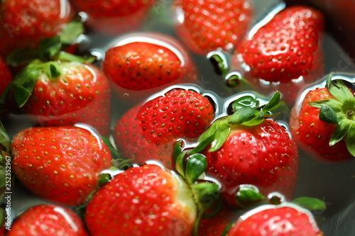 strawberry red fruit cleaning water - 252352967