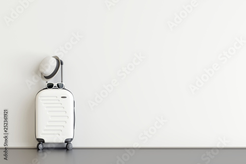 White suitcase with hat and sunglasses  in airport departure lounge. Travel concept. 3d rendering © aanbetta