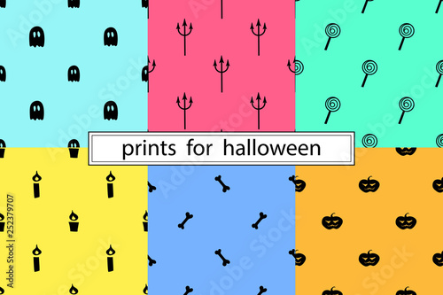 Collection of simple patterns for Halloween - 252379707
