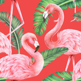 jungle palm leaf and flamingo seamless pattern,colored pencil drawing techniques,illustration