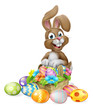 An Easter bunny rabbit cartoon character with a basket on an Easter egg hunt - 252402713