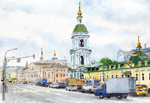 Watercolor city street scene - 252411995