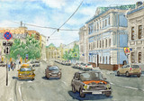 Watercolor city street scene