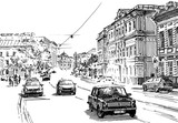 City street scene. Engrave sketch style illustration.