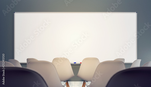 Empty classroom with chairs and big clean white board 3D Rendering