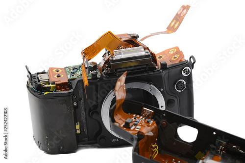 zerlegte Kamera, Elektronik, Prisma © R+R