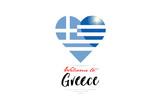 Welcome to Greece country flag inside love heart creative logo design