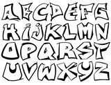 Fototapeta Młodzieżowe - English alphabet vector from A to Z in graffiti black and white style. © Mr. Note19