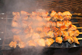 tasty juicy pieces of meat fried on coals. barbecue on the grill