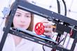 Leinwandbild Motiv Young women designer in 3d printing lab