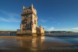 Belem Tower is a fortified tower located of Lisbon on the Tagus river.  Portuguese Manueline style. It is a UNESCO World Heritage Site. Portugal. Top tourist attraction in Europa. Concept of travel.
