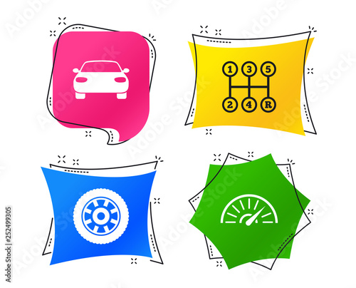 Transport icons. Car tachometer and mechanic transmission symbols. Wheel sign. Geometric colorful tags. Banners with flat icons. Trendy design. Vector