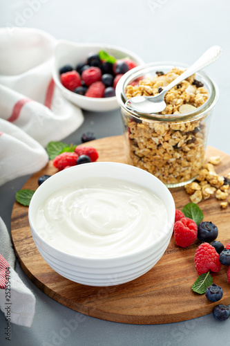 Leinwanddruck Bild Plain yougurt with granola and berries on side