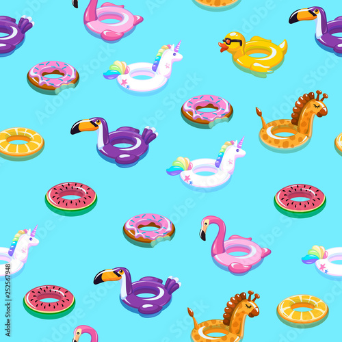 obraz lub plakat Swimming toys seamless pattern. Pool floating summer inflatable toy sea print float kid fashion textile print cartoon