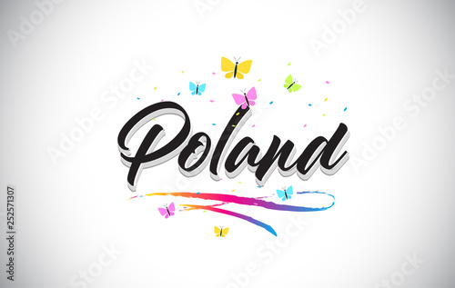 Poland Handwritten Vector Word Text with Butterflies and Colorful Swoosh.