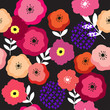 Colorful flower and dark background seamless pattern vector. - 252572582