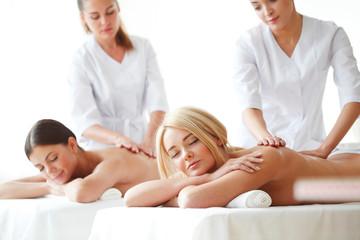 Two women getting massage