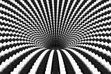 Black hole black and white abstract background 3D illustration