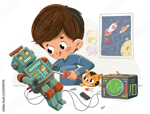 Niño con un robot y su mascota - 252594704