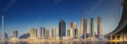 Leinwanddruck Bild Cityscape of Dubai and panoramic view of Business bay, UAE