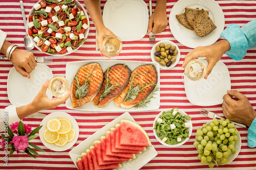 Leinwandbild Motiv Mediterranean diet. Healthy eating concept. Top view