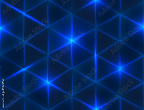 obraz PCV Seamless blue geometric pattern. Abstract triangle glowing background. Vector illustration