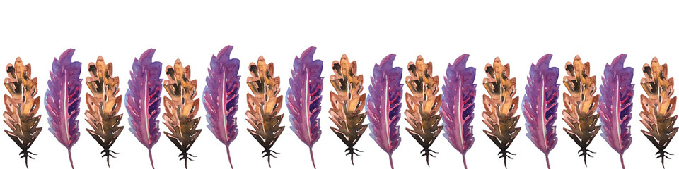 banner frame in an ornament of bird feathers of brown and lilac colors. watercolor hand technique, a great option for the design of invitations, cards, greetings © Анастасия Погуда