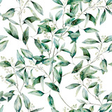 Watercolor seeded eucalyptus seamless pattern. Hand painted eucalyptus branch and leaves isolated on white background. Floral illustration for design, print, fabric or background. - 252647762
