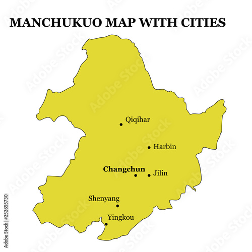 historical map of Manchukuo on the territory of modern China State on