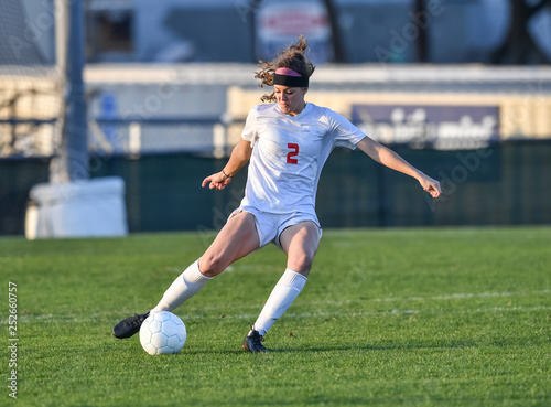 Young soccer player in action