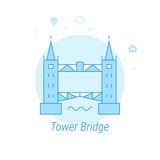 Tower Bridge, London Flat Vector Illustration, Icon. Light Blue Monochrome Design. Editable Stroke
