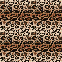 Seamless leopard wild nature pattern. Vector animal print.