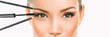 Leinwanddruck Bild - Eye makeup Asian woman professional make up artist applying mascara and eyebrow pencil makeover transformation. Woman putting shadow powder on eyes with makeup brush. Closeup of eyelid and eyebrow.