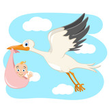 Stork is carried by a newborn baby against the sky.