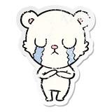 distressed sticker of a crying polar bear cartoon