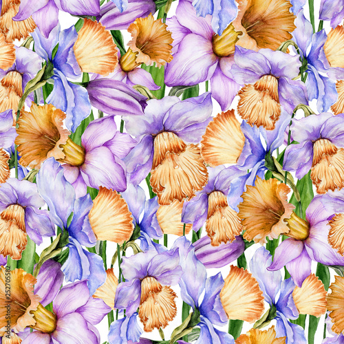 Beautiful narcissus flowers in seamless floral pattern. Bright spring background. Watercolor painting. Hand painted botanical illustration. Wallpaper, textile, bedding design. © katiko2016
