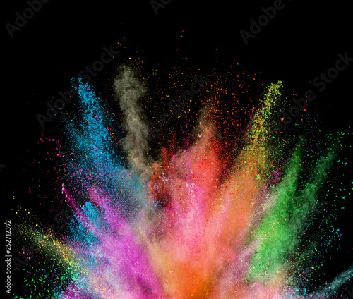 Explosion of colored powder on black background - 252712392