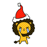 comic book style illustration of a crying lion wearing santa hat