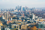 Fototapeta Londyn - Cityscape of London (England), Financial district Canary Wharf in the background © Silvan