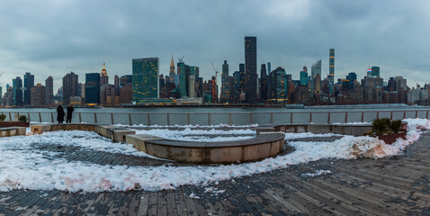 Gantry Plaza Park in the Long Island City in winter. © elena_suvorova