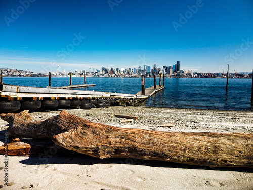 Seattle Skyline and Boat Launch Dock © Robert