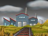 Fototapeta Natura - A factory scene background © blueringmedia