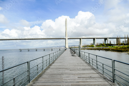 wooden bridge on the lake, in Lisbon Capital City of Portugal © underworld