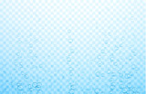 Blue transparent water background with realistic bubbles or drops.