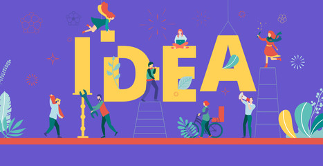 Idea, purple creative banner with people working together. Brainstorm, cooperation and teamwork.