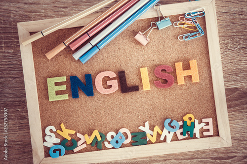 colorful ENGLISH word alphabet on a pin board background ,English language learning concept - 252756307