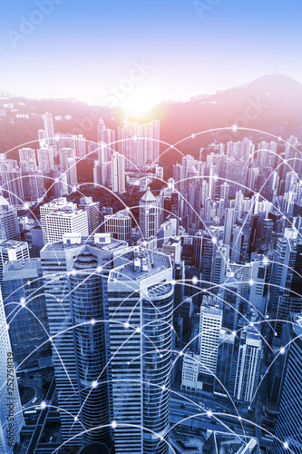 obraz PCV Modern urban skyline with high-speed data and internet communication network