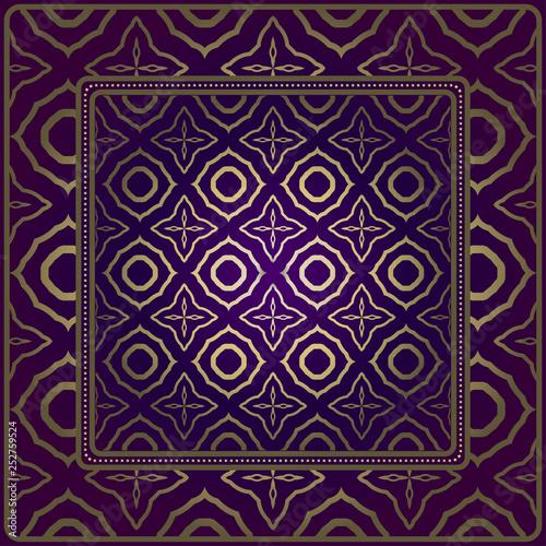 Vintage Geometric Pattern. Design For Bandana Shawl, Tablecloth Fabric Print. Vector Illustration. Luxury purple gold color - 252759524