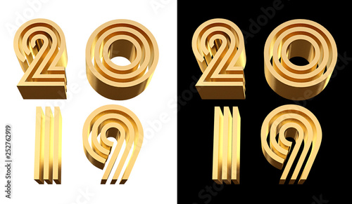 2019 bold letters d illustration. - 252762919